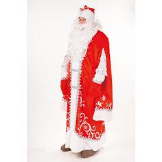 """Карнавальный костюм """"Дед Мороз Премиум"""" ( шуба, шапка, парик, борода, мешок, варежки) размер 182-54-56 Пуговка"""