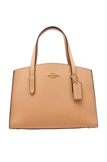 b9b0fc25f591 Бежевая кожаная сумка Coach
