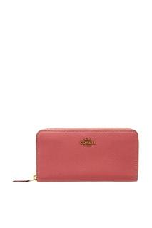 Розовый кожаный кошелек Coach