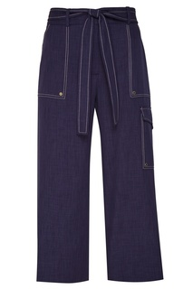 Синие брюки с контрастной строчкой Adolfo Dominguez