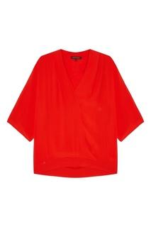 Красная блузка с V-вырезом Adolfo Dominguez