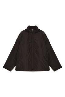 Черное пальто с капюшоном Balenciaga