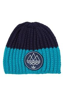 Контрастная вязаная шапка Adidas