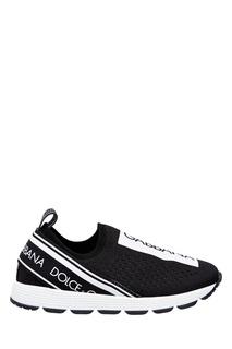 Текстильные кроссовки с контрастной отделкой Dolce&Gabbana Kids