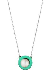 Серебряное колье с зеленой подвеской Serebriciti Jewelry