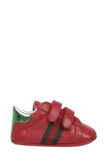 Красные кроссовки на липучках Gucci Kids