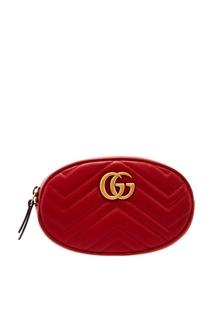Красная поясная сумка GG Marmont Gucci