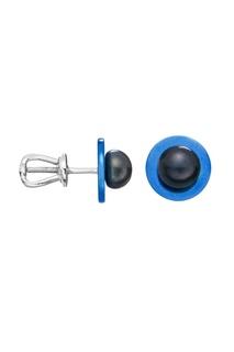 Синие гвоздики с черным жемчугом Serebriciti Jewelry