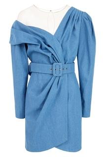 Асимметричное голубое платье с драпировкой Alena Akhmadullina