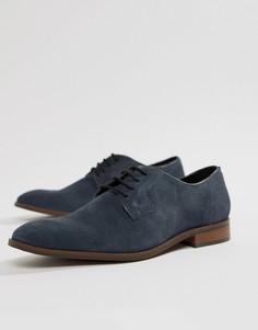 Темно-синие замшевые туфли со шнуровкой Dune - Синий