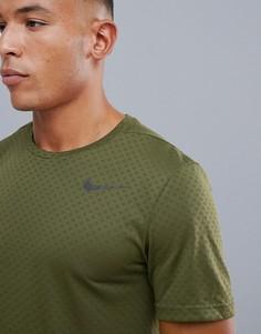 Футболка цвета хаки Nike Training Breathe 886742-395 - Зеленый