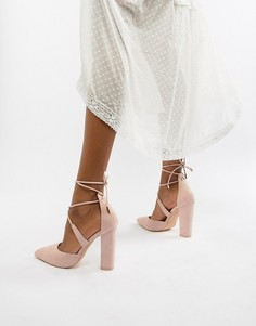Туфли-лодочки на блочном каблуке с завязками Glamorous - Бежевый