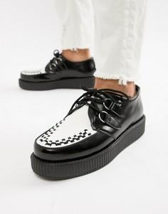 Черные кожаные ботинки с контрастной вставкой T.U.K - Черный TUK
