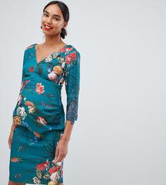 Платье-футляр с глубоким вырезом и цветочным принтом Little Mistress Maternity - Мульти