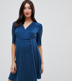 aa7292ddffb4 Плиссированное платье мини с пуговицами ASOS DESIGN Maternity - Синий