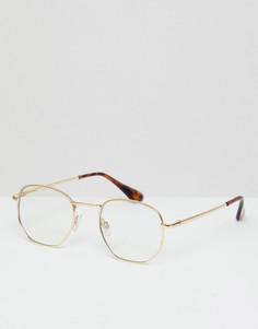 Круглые золотистые очки с прозрачными стеклами AJ Morgan - Золотой
