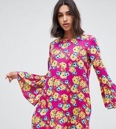 Свободное платье мини с длинными рукавами Reclaimed Vintage inspired - Розовый
