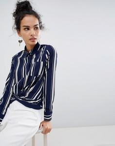 Рубашка в полоску QED London - Темно-синий