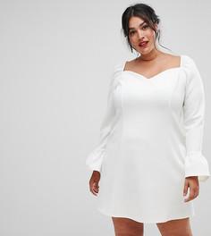 Платье мини с рукавами клеш и вырезом сердечком ASOS DESIGN Curve - Кремовый