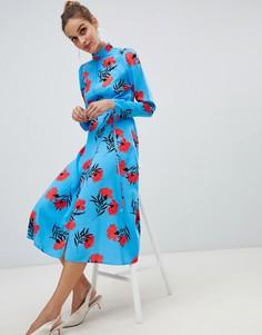 Синее платье миди с цветочным принтом River Island - Синий