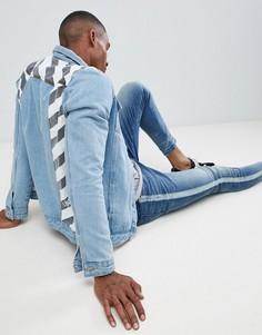 Монохромная джинсовая куртка в полоску Liquor N Poker - Синий
