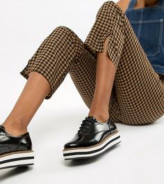 Черные туфли на платформе со шнуровкой и заклепками Monki - Черный