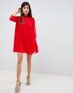 73610f4baf0 Плиссированное платье-трапеция мини ASOS DESIGN - Красный