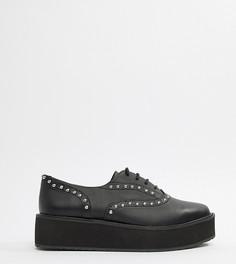 Черные туфли на платформе со шнуровкой Monki - Черный