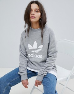 Серый оversize-свитшот с логотипом-трилистником adidas Originals - Серый