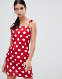 Платье мини на бретельках в горошек Boohoo - Красный