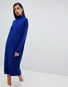 Платье-джемпер миди с отворачивающимся воротом ASOS DESIGN - Синий