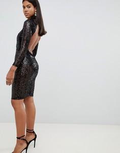 Облегающее платье с пайетками AX Paris - Черный