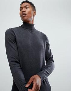 Трикотажная водолазка из хлопка и шелка Selected Homme - Серый