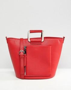 Красная сумка-тоут с карманом на молнии Faith - Красный