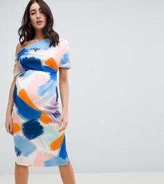 Платье-футляр с плиссировкой и абстрактным принтом ASOS DESIGN Maternity - Мульти