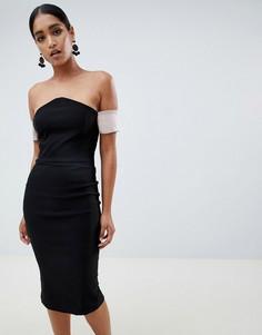Платье-футляр с V-образным вырезом Vesper - Черный