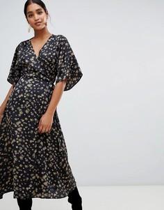 Платье миди с запахом и рукавами-кимоно Liquorish - Черный