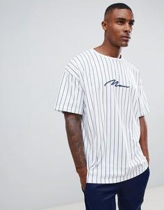 Белая футболка в вертикальную полоску с принтом boohooMAN - Белый