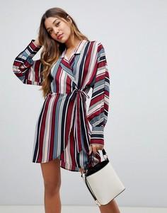 Платье-рубашка в полоску с поясом Boohoo - Мульти