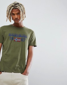 Футболка цвета хаки с круглым вырезом Napapijri - Зеленый