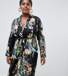 Платье-кимоно с запахом и цветочным принтом Boohoo Plus - Мульти