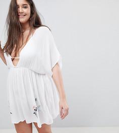 Эксклюзивное пляжное платье с вышивкой ASOS DESIGN CURVE - Белый