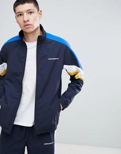 Темно-синяя спортивная куртка в стиле колор блок Converse 10006473-A02 - Черный