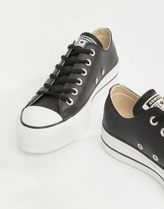 Черные низкие кожаные кроссовки Converse Chuck Taylor All Star - Черный dc1af37a25c