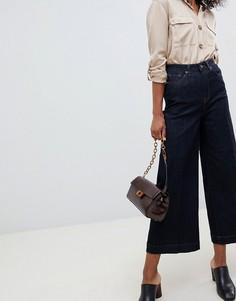 Широкие укороченные джинсы с завышенной талией Selected Femme - Синий