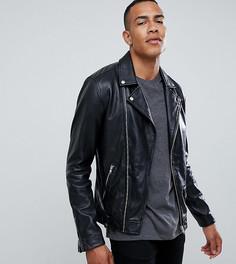 Кожаная байкерская куртка на молнии Barneys Originals Tall - Черный