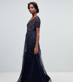 Темно-синее платье макси из тюля с V-образным вырезом и пайетками Maya Tall - Темно-синий