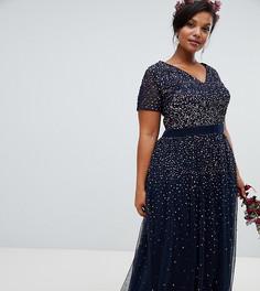 d51b7ded75d3b74 Темно-синее платье макси с V-образным вырезом и пайетками Maya Plus - Темно