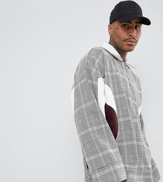 Oversize-куртка в клетку с молнией до груди ADD - Коричневый