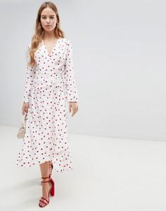 Жаккардовое платье миди в горошек с запахом ASOS DESIGN - Мульти